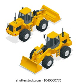 Isometric Vector illustration yellow bulldozer tractor, construction machine, bulldozer isolated on white. Yellow Wheel front loader , Front Loader. Loading Shovel. Heavy Equipment Machine.