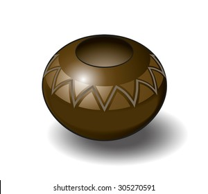 Isometric Vector Illustration of a Zulu Pot