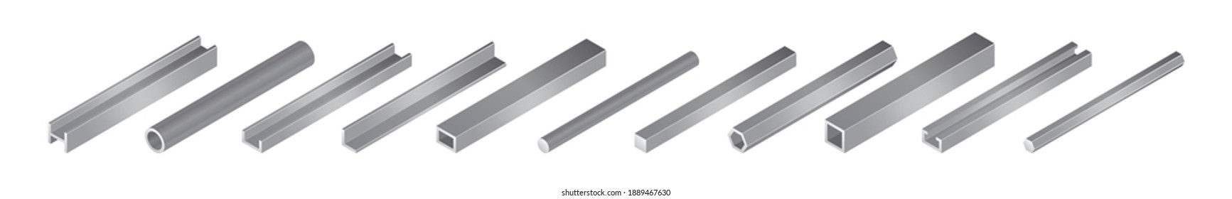 Isometric vector illustrationd different metal profile and tubes isolated on white background. Set of steel beam tubes and pipes vector icons in flat cartoon style. Steel construction materials.