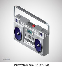 isometric vector image of a classic boombox