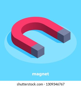 isometric vector image on a blue background, a large red magnet, an icon to attract business success