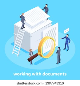 Isometric vector image on a blue background, men in business suits and a woman with a magnifying glass standing next to a stack of documents, studying working documentation and teamwork