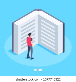 isometric vector image on a blue background, a young man stands at the opened book, the person reading