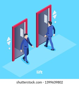 Isometric vector image on a blue Isometric vector image on a blue background, a man in a business suit enters the elevator and another goes, an elevator in the office