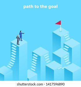 isometric vector image on a blue background, men in business suits stand on top of a column and look into the distance where there is a red flag, the goal of their way