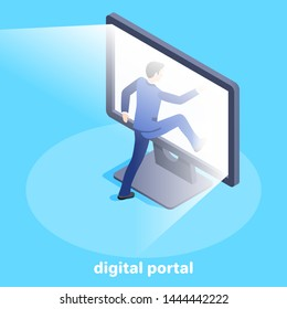 Isometric vector image on a blue background, a man in a business suit enters a glowing computer screen, a digital portal and access to the Internet