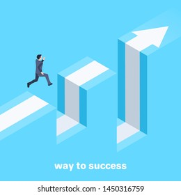 isometric vector image on a blue background, a man in a business suit jumps over failure, movement to success