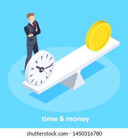 isometric vector image on a blue background, a man in a business suit stands next to the scales on which there are watches and a coin, the choice of time or money