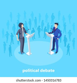 Isometric vector image on a blue background, woman in business suits stand in front of a microphone on the stage among the spectators, political debates