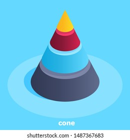 isometric vector image on a blue background, a pyramid in the form of a cone is divided proportionally into several parts, analytics in business and work with diagrams