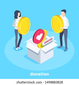 isometric vector image on a blue background, men in business suits are standing near a large box into which money and likes fall, charity donations and sponsorship