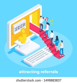 isometric vector image on a blue background, a man with a loudspeaker stands at the open door on the computer screen, attracting referrals and buyers for additional income