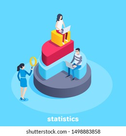 isometric vector image on a blue background, a man and a woman on a pie chart in the form of a pyramid, working with financial data and statistics