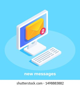 isometric vector image on a blue background, a computer with an envelope on the screen, incoming letters to email