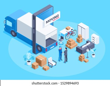 isometric vector image on a blue background, a truck in a smartphone and things with boxes for moving, moving service