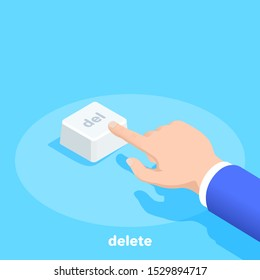 isometric vector image on a blue background, a man in business clothes presses the delete button