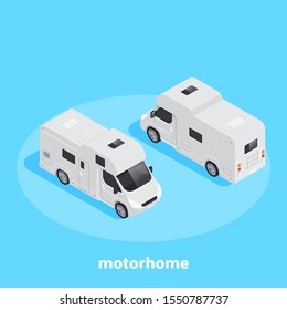 isometric vector image on a blue background, white motorhome front and back view