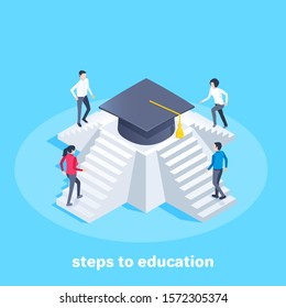 isometric vector image on a blue background, men and women climb the steps of the pyramid to the top where the bachelor's hat is located, steps to education