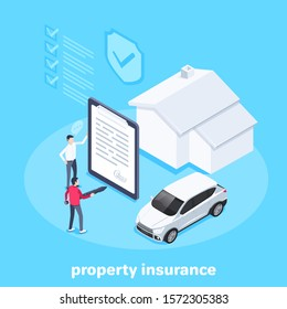 isometric vector image on a blue background, a man signs a property insurance for car and house, filling out documentation and registration of a vehicle and real estate