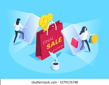 isometric vector image on a blue background, business concept, woman with shopping bags comes out of the smartphone screen, online store and shopping, final sale and online shopping