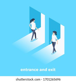 isometric vector image on a blue background, women enter and exit the open door, entrance and exit