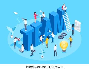 isometric vector image on a blue background, the big word team and people teamwork, light bulb and ladder