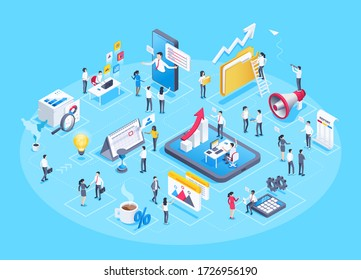 isometric vector image on a blue background, business people work in the office and a set of business icons in the form of a composition of related elements