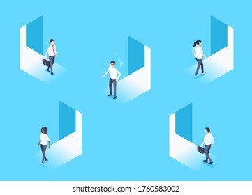 isometric vector image on a blue background, men and women enter and exit the open doorways