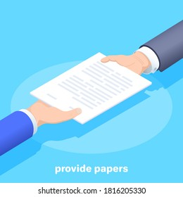 isometric vector image on a blue background, a man in business clothes passes paper documentation to another man, from hand to hand provide papers