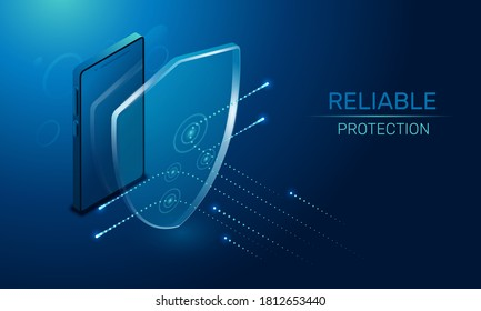 isometric vector image on a dark background, a transparent shield covering the lsmartphone from virus attacks, reliable protection