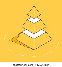 isometric vector image on a yellow background, step pyramid icon, business success