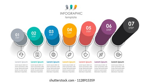 Isometric vector Infographic design with icons and 7 options or steps. Infographics for business concept. Can be used for presentations banner, workflow layout, process diagram, flow chart, info graph