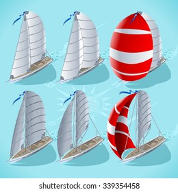 Isometric Vector Infographic Points Sail Isometric 3D Flat Set. Sail Boat Spinnaker in Positions. Nautical Ship Build Regatta Infographic Diagram. Isometric Sail Ship Vector Boat Illustration