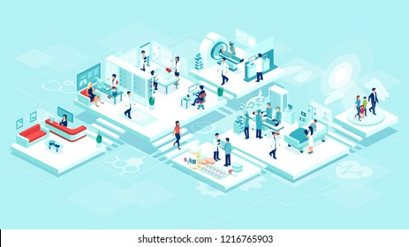 Isometric vector of a medical clinic hospital inpatient care with rooms, patients, doctors and nurses. Healthcare technology and imaging studies concept.