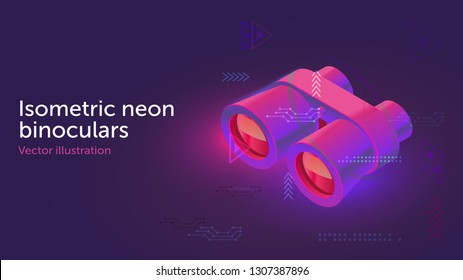 Isometric vector neon binoculars. 3d binoculars illuminated with neon light. Usable for web site design, logo, app, UI, posters. Vector illustration, EPS10.