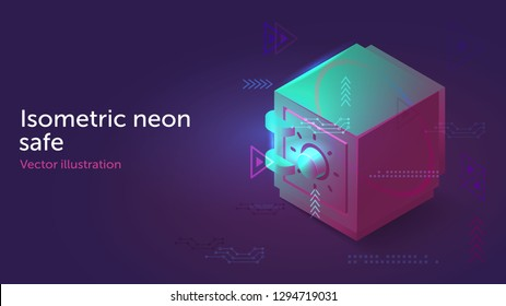 Isometric vector neon safe