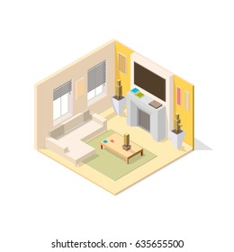 Isometric vector notch with a cutout for the living room. The room has a sofa, fireplace, flowers, coffee table, TV and other furniture.