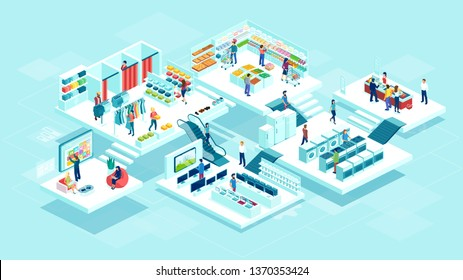 Isometric vector of people men and women shopping at the supermarket and buying products consumer goods