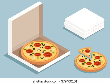 Isometric vector pizza. pizza in the box.  Delicious italian pizza. isometric illustration