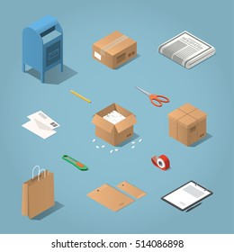 Isometric vector postal delivery objects set. Illustration of mailbox, cardboard box, newspaper, letters, open box with filler, shopping bag, envelopes, paper on tablet, knife, adhesive tape, scissors