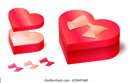 Isometric vector red heart shaped box opened and closed with bow.