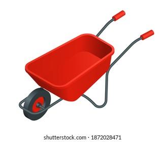 Isometric vector red wheelbarrow illustration isolated on white background. Metal wheelbarrow colorful vector icon. Red wheelbarrow with one wheel for transportation cargo in flat cartoon style.