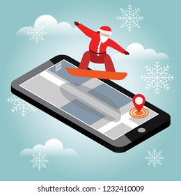 Isometric vector Santa Claus has boarding in city. Christmas and New Year are coming. Urban style and hot tricks in park. Activity speed extreme