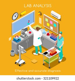 Isometric Vector Science Clinic Laboratory room Blood Test Infographic Hospital Lab Health Blood Analysis Pathology Microbiology Health Clinic Laboratory Medical Isometric People Lab medicine Vector