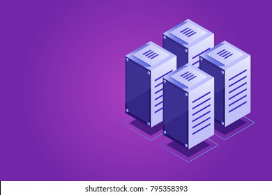Isometric vector server rack, data center concept, vps vds hosting, server room, cloud storage place gradient violet