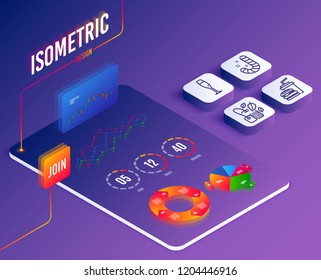 Isometric vector. Set of Candy, Champagne glass and Hamburger icons. Mint bag sign. Lollypop, Winery, Burger with drink. Mentha tea.  Software or Financial markets. Analysis data concept. Vector