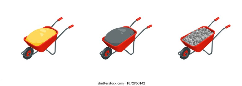 Isometric vector set of construction material on wheelbarrow illustrations isolated on white background. Sand, gravel, cement on barrow colorful vector icons. Building materials in flat cartoon style.