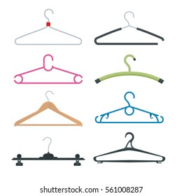 Isometric vector set of different clothes hangers isolated on white background. Collection includes wooden, plastic, metallic, old, new, vintage, and modern coat hangers.