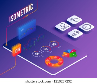 Isometric vector. Set of Elastic, Touchpoint and Time icons. Megaphone sign. Resilience, Touch technology, Office clock. Advertisement.  Software or Financial markets. Analysis data concept. Vector