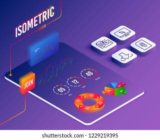 Isometric vector. Set of Internet, Attachment and Accounting report icons. Download sign. Monitor with cursor, Attach document, Check finance. Load file.  Software or Financial markets. Vector